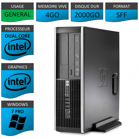 HP Elite 8200 4Go 2000Go W7P