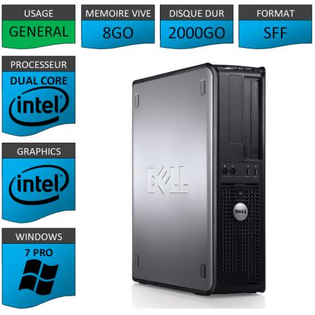 PC DELL OPTIPLEX 8GO 2000GO WINDOWS 7 PRO 64 bits