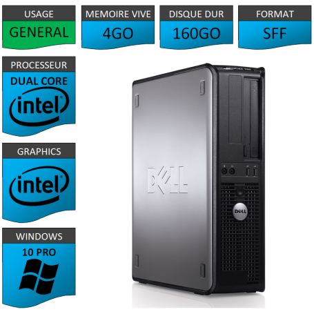 PC DELL OPTIPLEX 4GO 160GO WINDOWS 10 PRO 64 bits