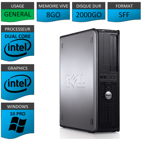 PC DELL OPTIPLEX 8GO 2000GO WINDOWS 10 PRO 64 bits