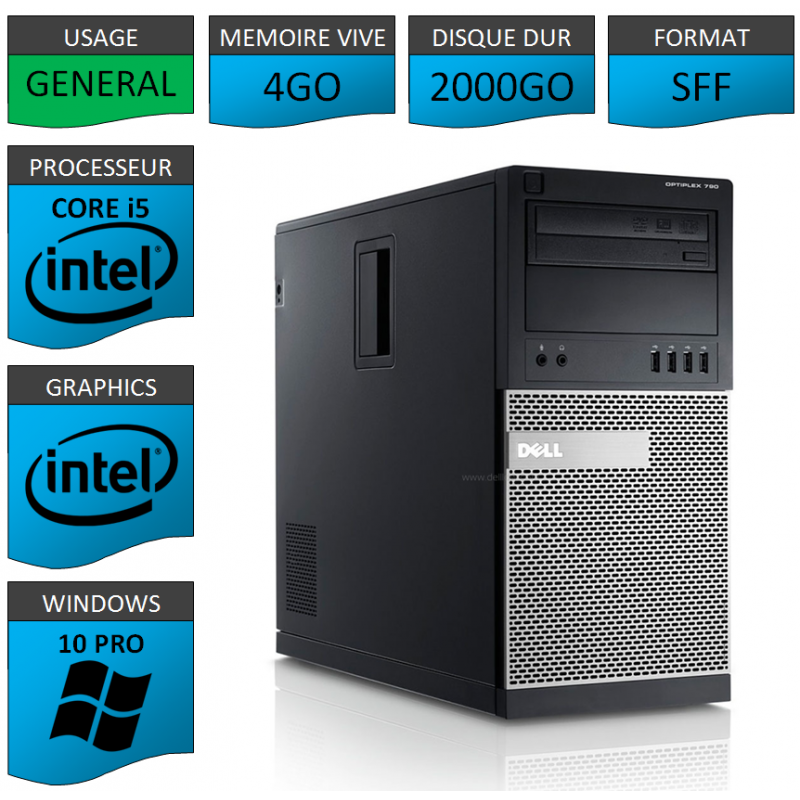 Dell Optiplex 990 TOUR 4Go 2000Go Windows 10