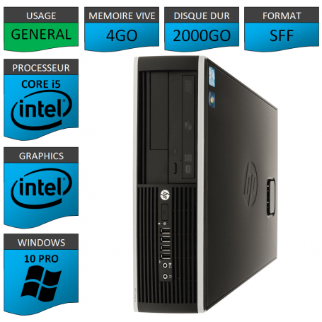 PC HP Pro Core i5 4Go 2000Go Windows 10 pro