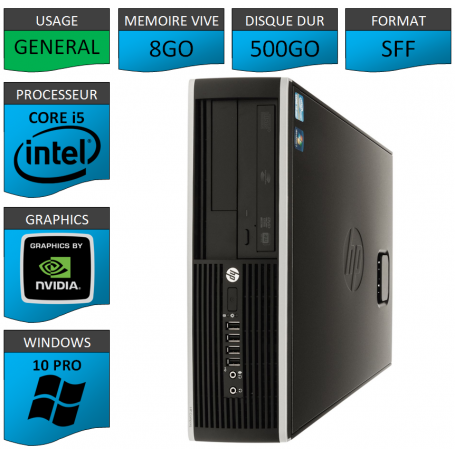 PC HP Pro Core i5 8Go 500Go Windows 10 pro Geforce