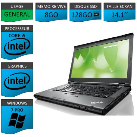 Lenovo T430 Core i5 8Go SSD128 Windows 7