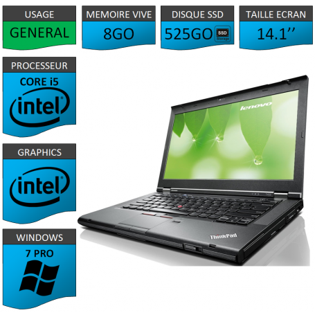 Lenovo T430 Core i5 8Go SSD525 Windows 7