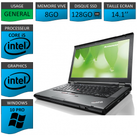Lenovo T430 Core i5 8Go SSD128 Windows 10