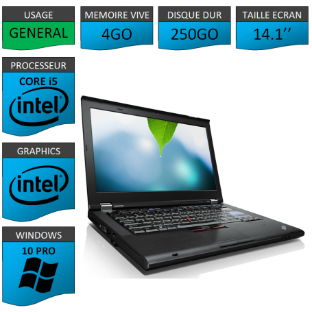 Thinkpad T420 Core i5 4Go 250Go Windows 10