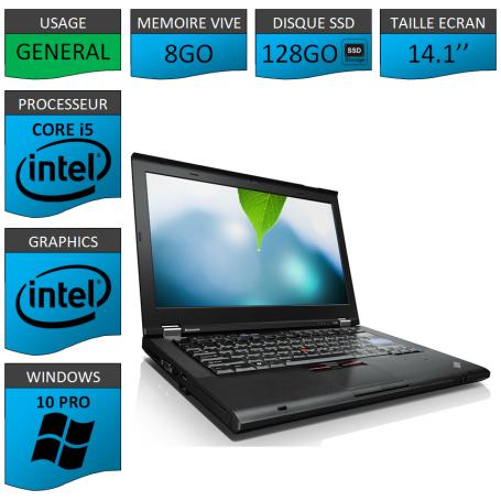 Thinkpad T420 Core i5 8Go SSD128 Windows 10