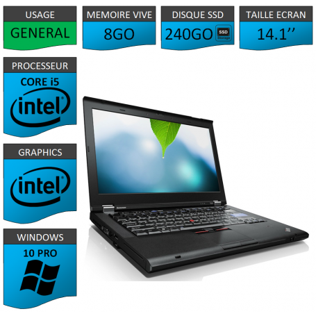 Thinkpad T420 Core i5 8Go SSD240 Windows 10