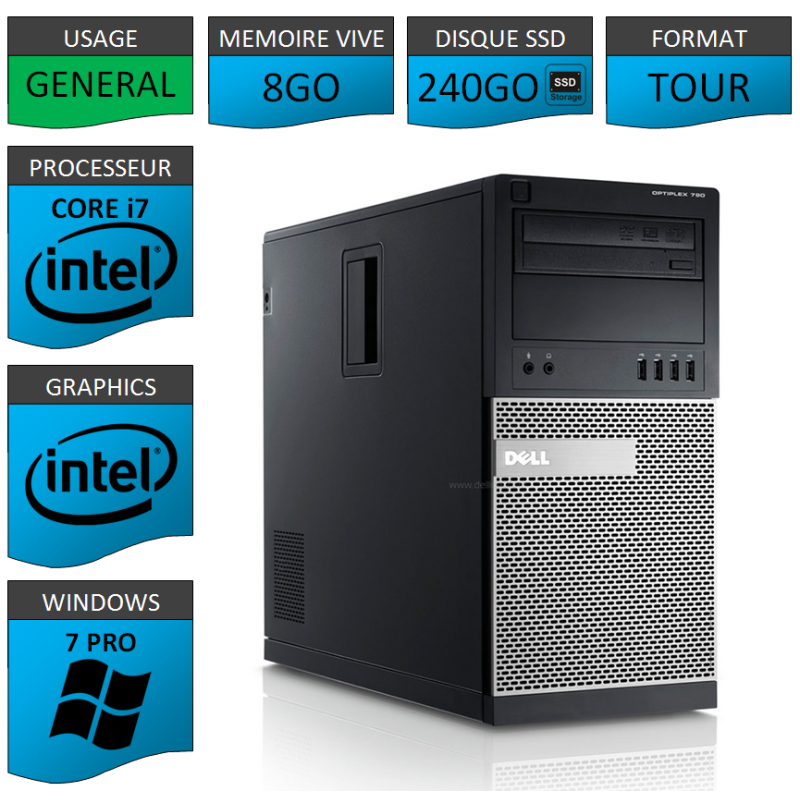 Dell Optiplex 790 Core i7 8go 240SSD Windows 7 Pro