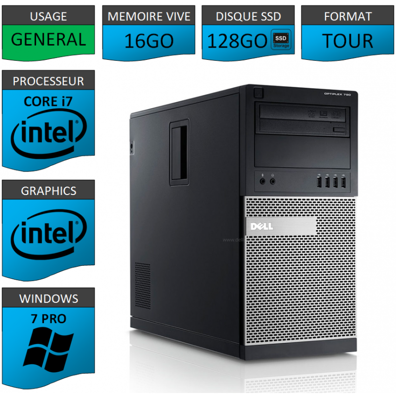 Dell Optiplex 790 Core i7 16go 128SSD Windows 7 Pro