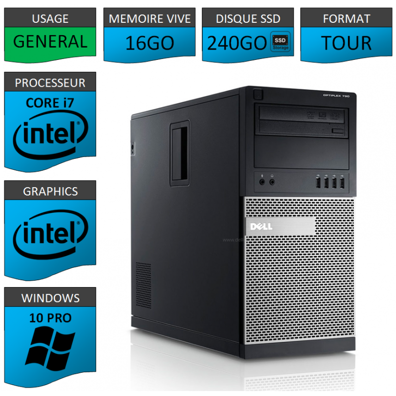 Dell Optiplex 790 Core i7 16go 240SSD Windows 10 Pro