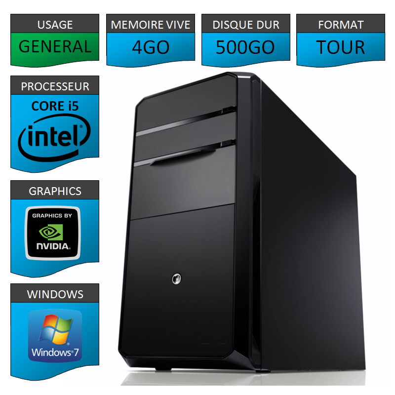 PC NEUF Core i5 4Go 500Go Geforce 1Go 64 bits