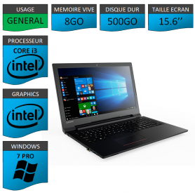 "Lenovo Core i3 8Go 500Go 15.6"" Windows 7 Pro 64"