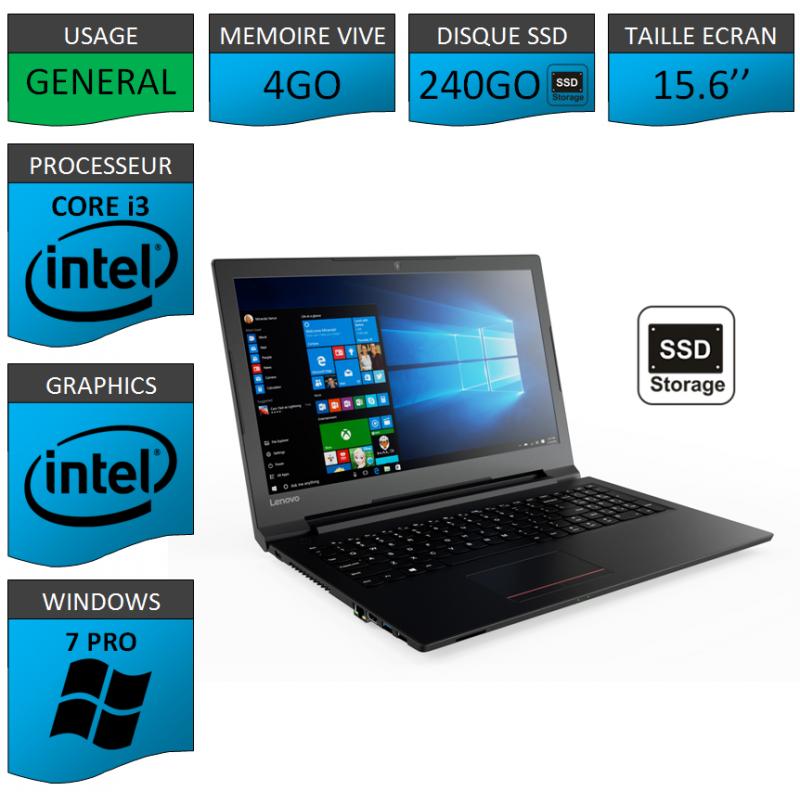 "Portable neuf Windows 7 Pro 64 Lenovo Core i3 4Go 240Go SSD 15.6"""