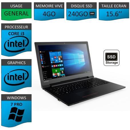 "Lenovo Core i3 4Go 240SSD 15.6"" Windows 7 Pro 64"