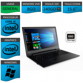 Portable neuf Windows 7 Pro 64 Lenovo Core i3 8Go 240Go SSD 15.6""