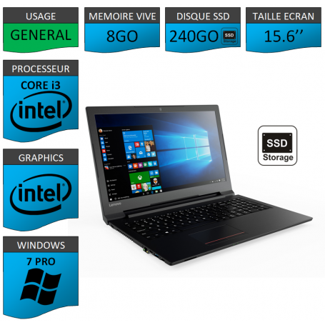"Lenovo Core i3 8Go 240SSD 15.6"" Windows 7 Pro 64"