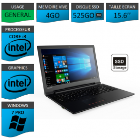 Portable neuf Windows 7 Pro 64 Lenovo Core i3 4Go 525Go SSD 15.6""