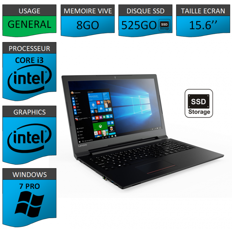 "Portable neuf Windows 7 Pro 64 Lenovo Core i3 8Go 525Go SSD 15.6"""