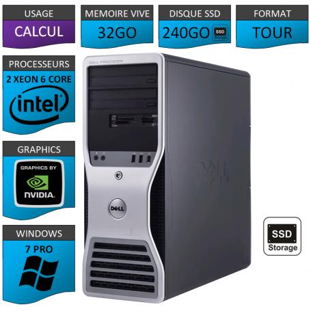 Workstation 2 CPU Intel Xeon - 32Go - 240SSD - W7P