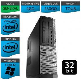 PC DELL 4Go 250Go WINDOWS 7 PRO 32 bits Faible Encombrement