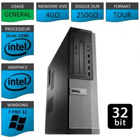 PC DELL 4Go 250Go WINDOWS 7 PRO 32 bits Faible Encombrement
