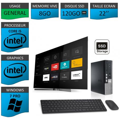 Dell Optiplex Core i5 8go 120SSD Windows 7 Pro 22''