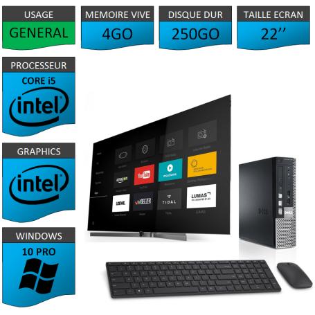 Dell Optiplex Core i5 4go 250Go Windows 10 Pro 22''