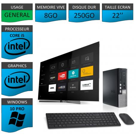 Dell Optiplex Core i5 8go 250Go Windows 10 Pro 22''