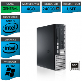 Ordinateur i5 USFF 4Go SSD240 Windows 10 Pro
