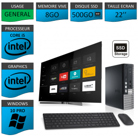 Dell Optiplex usff Core i5 8go 500SSD Windows 10 Pro 22''