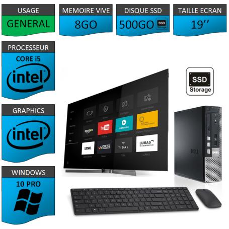 Dell Optiplex Core i5 8go 500SSD Windows 10 Pro 19''