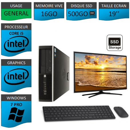 PC HP Core i5 16Go 500SSD Windows 7 Pro Ecran 19 CSF