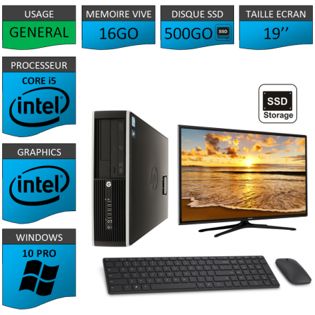 PC HP Core i5 16Go 500SSD Windows 10 Pro Ecran 19 CSF