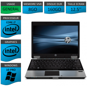 Hp elitebook 2540p i7 8Go 160Go W10P