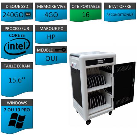 Classe Mobile 16 Ordinateurs Portables HP pavé numérique 15.6'' 4Go SSD 240