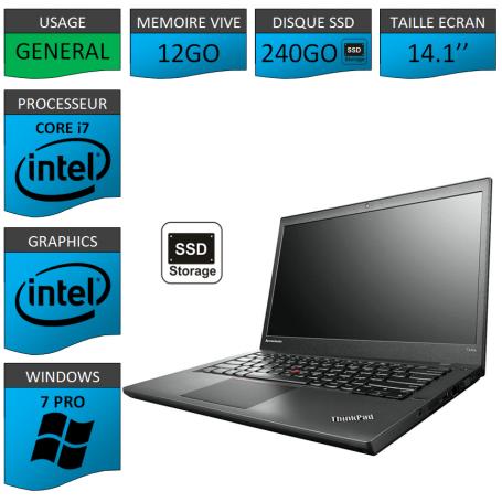 Lenovo Thinkpad T440s i7 12Go SS240 W7P