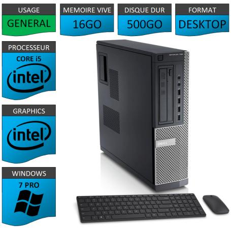Dell Optiplex Core i5 16go 500Go Windows 7 Pro CSF