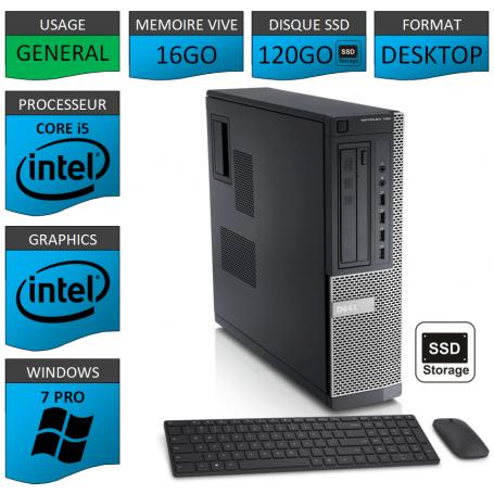 Dell Optiplex Core i5 16go 120SSD Windows 7 Pro CSF