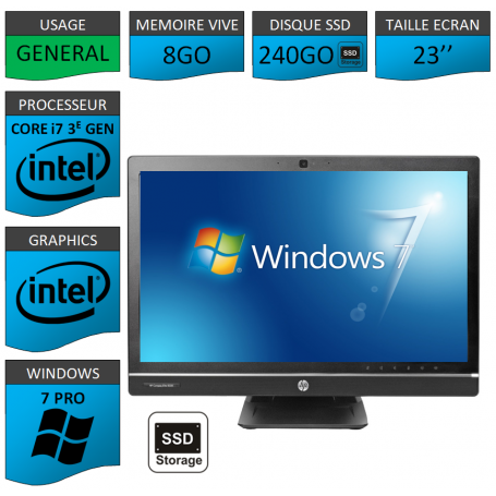 Hp 8300 aio i7 8Go 240SSD Windows 7 Pro