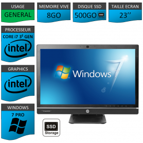 Hp 8300 aio i7 8Go 500SSD Windows 7 Pro