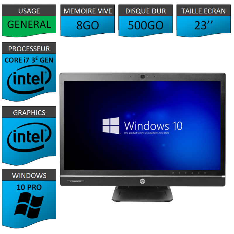 Hp 8300 aio i7 8Go 500Go Windows 10 Pro