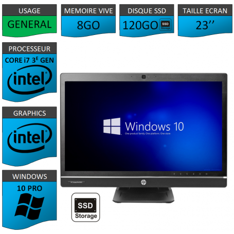 Hp 8300 aio i7 8Go 120SSD Windows 10 Pro