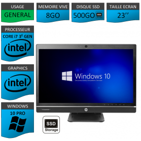Hp 8300 aio i7 8Go 500SSD Windows 10 Pro
