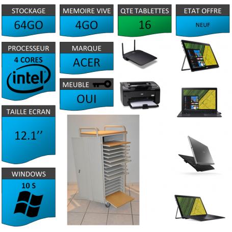 Classe Mobile 16 tablettes 12.1'' 4Go Windows 10 S WIFI + IMPRIMANTE