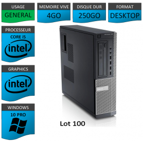 Lot 100 PC Dell Optiplex Core i5 4Go 250Go Windows 10 Pro
