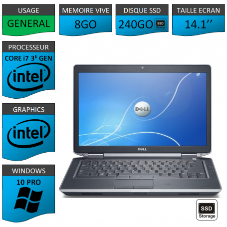 Dell latitude e6430 i7 8Go 240SSD Windows 10 Pro