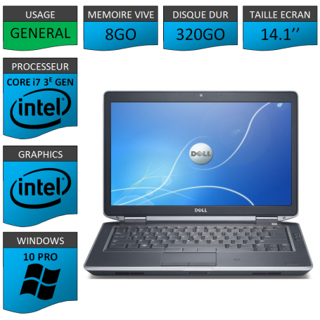 Dell latitude e6430 i7 8Go 320Go Windows 10 Pro