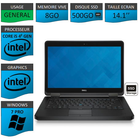 DELL Latitude e5440 i5 8Go 500SSD Windows 7 Pro